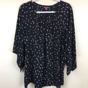 Vince Camuto Womens Top Black 1X Blouse 3/4 Sleeve